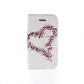 Kinston KST02198 Heart Pattern PU Leather Full Body Case w/ Stand for IPHONE 4 / 4S - White + Red