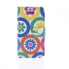Kinston Colorful Cartoon Flowers Pattern PU Leather Full Body Case with Stand for IPHONE 4 / 4S