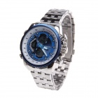 Sanda 269 Men's Digital + Quartz Dual-Movement Wristwatch - Silver + Blue (1 x CR2016 / 1 x SR626SW)