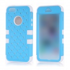 Grid Pattern Protective Silicone Back Case w/ Crystal for IPHONE 5 / 5S - Light Blue + White