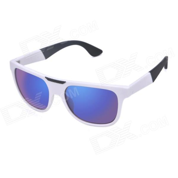 OREKA K357 Fashionable UV400 Protection PC Lens Sunglasses - White + Blue REVO