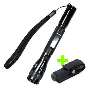 Nichia 1W LED 2xAA Optical Reflector Slim Flashlight with Holster