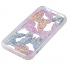 Fashion Hollow Carved Butterfly Design Silicone Case for IPHONE 5 / 5S - Blue + Pink