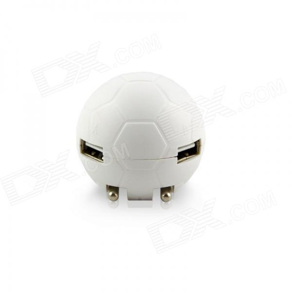 Janse Football Style 15W Dual USB 2.1A / 1A EU Plug Power Charger for IPAD / IPHONE + More - White janse football foot style 15w dual usb eu plug power charger car charger white