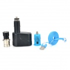 12V Cigarette Lighter + 1-to-2 Lighter Adapter + USB Car Charger + Micro USB Cable - Black + Blue
