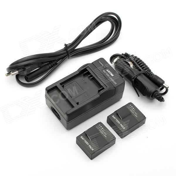2-Battery + Power Cable + Car Charger for GoPro Hero 3 / 3+ - Black