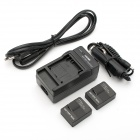 2-Battery + EU Plug Power Cable + Car Adapter & Travel Charger for GoPro Hero 3 / 3+ - Black