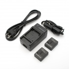 JUSTONE 2-Battery + US Plug Power Cable + Car Adapter & Travel Charger for GoPro Hero 3 / 3+ - Black