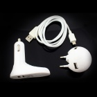 Janse Football + Foot Style 15W Dual USB EU Plug Power Charger + Car Charger - White