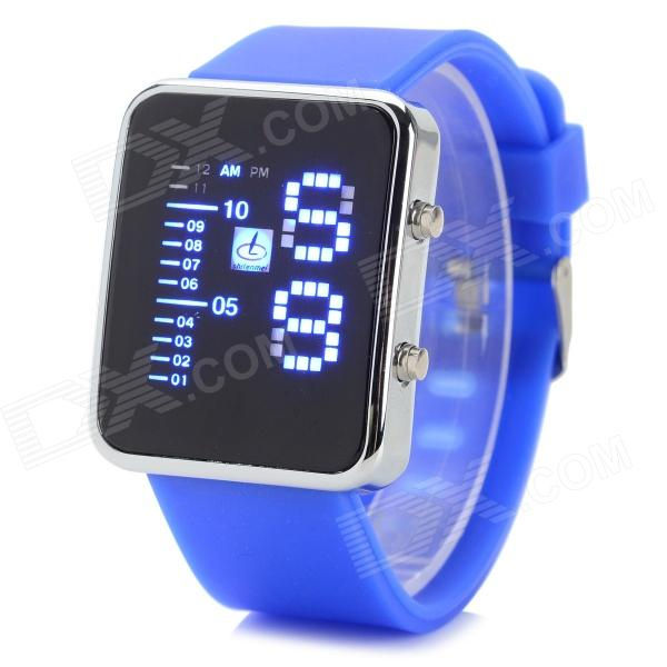 Shifenmei 1149W Fashion Zinc Alloy Case Silicone Band Digital LED Wrist Watch - White + Blue