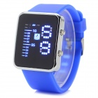 Shifenmei 1149W Fashion Zink-Legierung Kasten-Silikon-Band Digital LED-Armbanduhr - Weiß + Blau