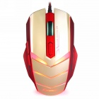 Sunsonny TM50 USB 2.0 Wired 6-Button 600/1000/1600dpi LED Red Light Gaming Mouse - Golden + Red