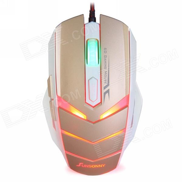 Sunsonny TM50 USB 2.0 Wired 6-Button 600/1000/1600dpi LED Red Light Gaming Mouse - White + Golden