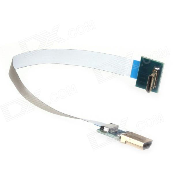 ZnDiy-BRY FPV Super suave estándar HDMI macho a Mini HDMI Cable AV macho-Blanco + Azul