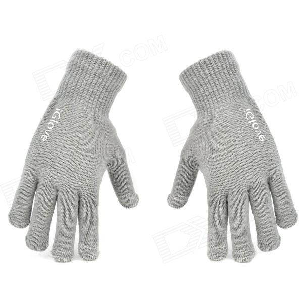 Fashionable Full Fingers Touch Screen Gloves - Grey (Pair)