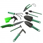 10-in-1 Gardening Scissors + Shovels + Harrow + Mower Blade Set - Black + Army Green