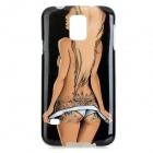 Protective Hot Bikini Girl Patterned TPU Back Case for Samsung Galaxy S5 - Black + Beige