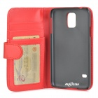 Protective Flip-open PU Case w/ Stand + Card Slot for Samsung Galaxy S5 - Red