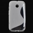 S Pattern Protective TPU Back Case for Motorola MOTO E - Translucent White