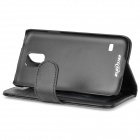 Protective Flip-open PU Case w/ Stand + Card Slot for Samsung Galaxy S5 - Black