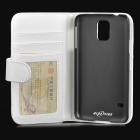Protective Flip-open PU Case w/ Stand + Card Slot for Samsung Galaxy S5 - White