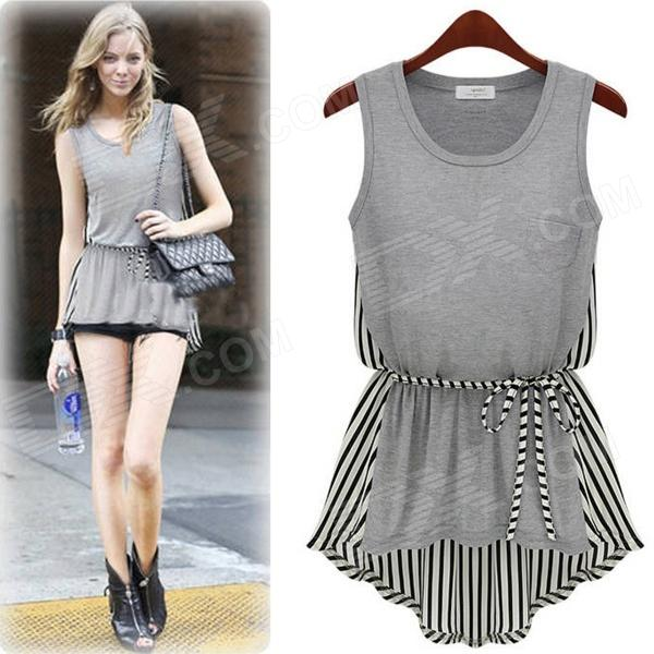 WS-2045 Women's Stylish Sleeveless Cotton + Chiffon Top Shirt - Grey (Free Size)