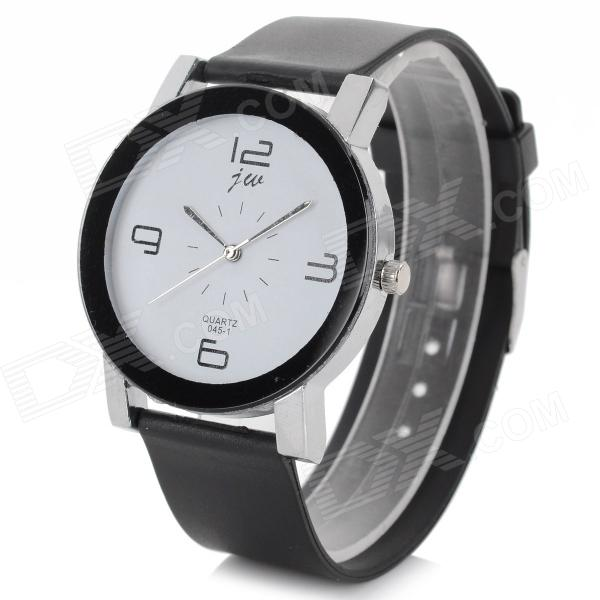 Simple Stylish Analog Quartz Wristwatch - Black + White (1 x CR1220)