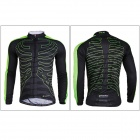 NUCKILY CJ122 / CK122 Men's Cycling Long Jersey Clothes + Pants Set - Black + Green (M)