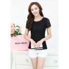 MENGDINA NC20612218 Women's / Ladies' Fashionable Short-sleeved Lace Top Shirt - Black (XL)