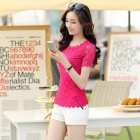 MENGDINA NC20612218 Women's / Ladies' Fashionable Short-sleeved Lace Top Shirt - Deep Pink (L)