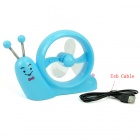 Cute Snail Style USB Mini 3-Blade 1-Mode Desk Fan - Blue