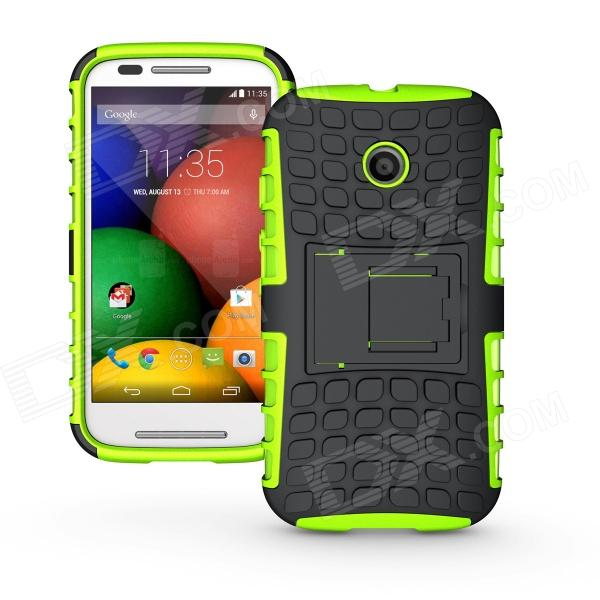 Protective TPU + PC Back Case w/ Stand for Motorola Moto E Phone - Black + Green protective abs back case cover for motorola moto g2 black
