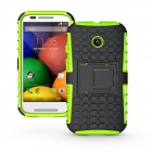 Protective TPU + PC Back Case w/ Stand for Motorola Moto E Phone - Black + Green
