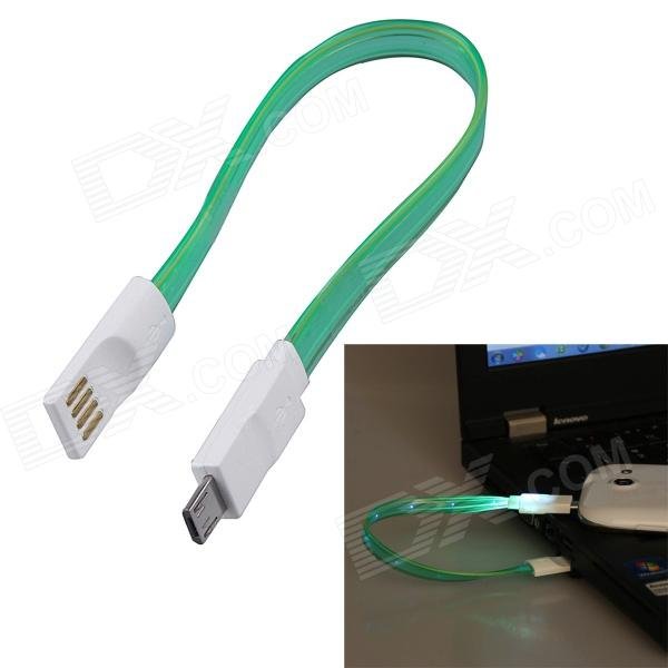 USB 2.0 to Micro USB Charging / Data Sync Cable w/ LED for Samsung / Motorola  + More - Green (20cm) xml & 8874