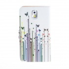 Kinston Butterfly Grass Pattern PU Leather Full Body Case for Samsung Note 3 - White + Blue