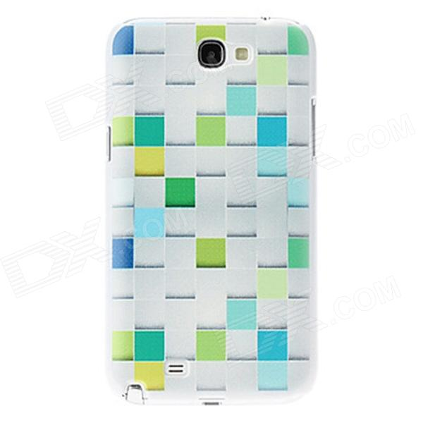 Kinston Grid Pattern Hard Case for Samsung Galaxy Note 2 N7100 - White + Light Green