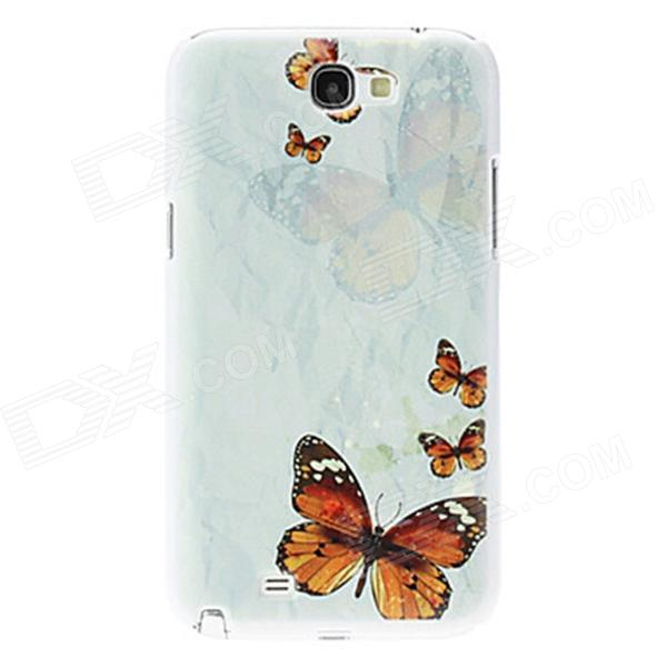 Kinston Butterfly Pattern Hard Case for Samsung Galaxy Note 2 N7100 - White + Yellow