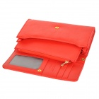 Stylish Cross Pattern Crown 3-Compartment PU Handbag Wallet Purse w/ Strap / Zippered Pocket - Red