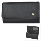Stylish Cross Pattern Crown 3-Compartment PU Handbag Wallet Purse w/ Strap / Zippered Pocket - Black