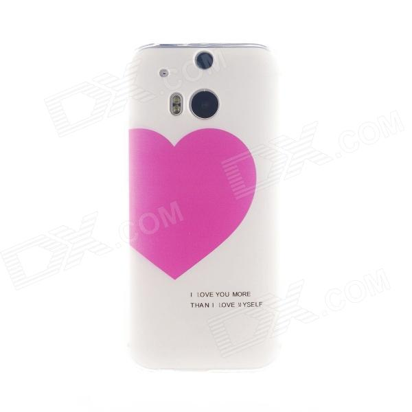 Kinston Love for You Pattern TPU Soft Case para HTC One M8 - Branco + Rosa