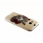 Kinston White Tiger Pattern TPU Soft Case for HTC One M8 - Grey + Black