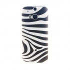 Kinston Zebra Pattern TPU Soft Case for HTC One M8 - White + Black
