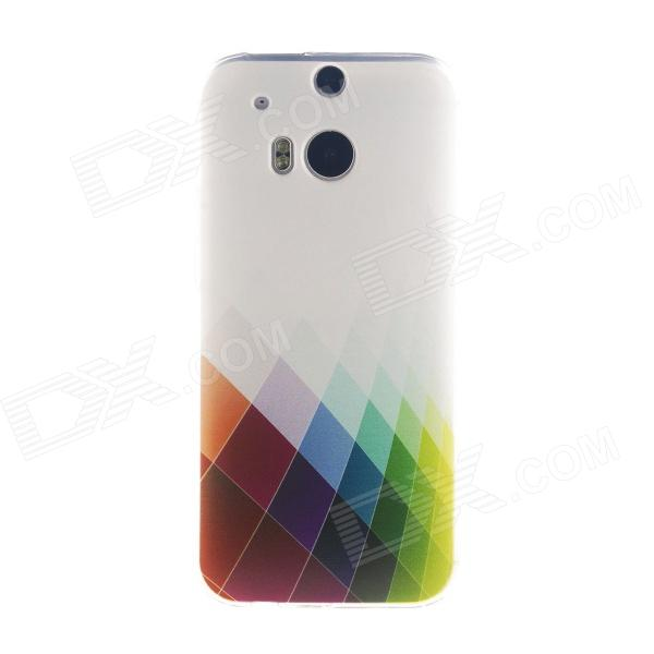 Kinston Colorful Rhombus Pattern TPU Soft Case for HTC One M8 - White + Red