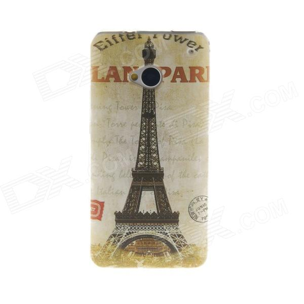 Kinston Eiffel Tower Pattern TPU Soft Case for HTC One M7 3200mah backup battery case w holder for htc one m7 801e black
