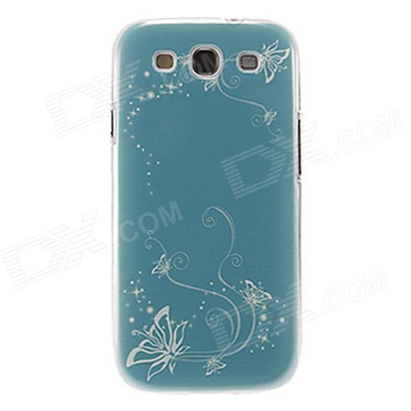 Kinston Ochre Tendril Pattern Protective Plastic Case for Samsung Galaxy S3 i9300 - Cyan + White kinston colorful flowers and butterflies pattern plastic protective case for samsung galaxy s3 i9300