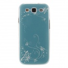 Kinston Ochre Tendril Pattern Protective Plastic Case for Samsung Galaxy S3 i9300 - Cyan + White