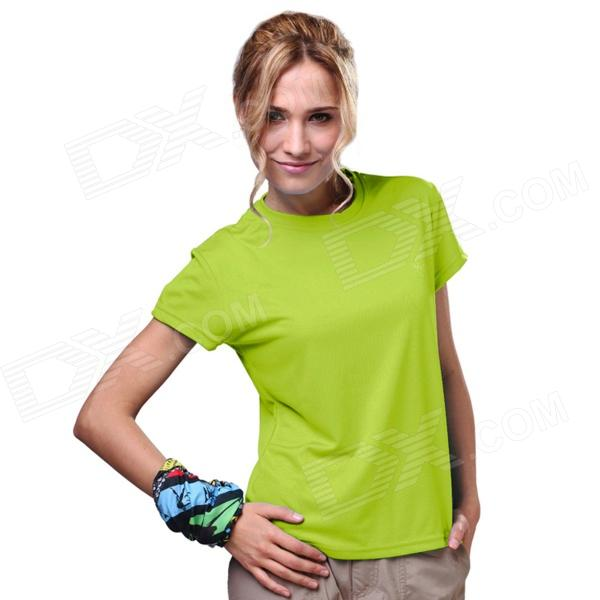 LANGZUYOUDANG 2170 Women's Outdoor Sports Quick-Dry Short-sleeved Polyester T-shirt - Green (Size L)