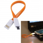 USB 2.0 to Micro USB Charging Data Sync Cable w/ LED for Samsung / Motorola + More - Orange (20cm)