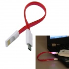 USB 2.0 to Micro USB Charging / Data Sync Cable w/ LED for Samsung / Motorola + More - Red (20cm)