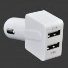 Universal 2.1A/1A Dual USB Car Charger - White (12~24V)